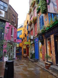 London's Seven Dials neighborhood, Covent Garden, UK - with its seven cobblestoned streets that radiate from a central square with a sundial, it has been a colorful neighborhood since the 17th century.