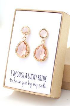 Peach Champagne / Gold Two Piece Teardrop Post Earrings -- cute gift idea