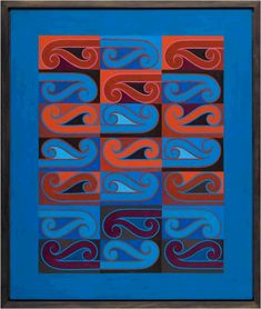 This is an acrylic painting on hardboard titled 'Kahuirangi', which was made by NZ artist Sandy Adsett in 1988 http://artsonline2.tki.org.nz/resources/units/music_units/symbol_2_sound/images.php