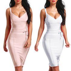 58175e218f INDRESSME 2018 Women s Bandage Dress New Sexy Spaghetti Strap Deep V  Backless Fashion Dress Bodycon Femme