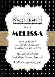 Bachelorette Hollywood Party Invitation Black by PaperHabitStudio