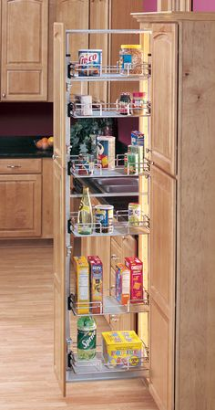 Rev-A-Shelf 5243-09N CR   Bring functionality and style to your kitchen with a Chrome Pullout Pantry. Available in an array of sizes you are sure to find the right one for your storage needs.   Complete and kit packaged, this beautiful pantry features adjustable door mounting brackets, 250lbs weight rated slide system, top and bottom soft-close slide slides, study frame and stylized wire baskets.