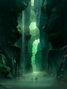 I admire this piece because of it's discrete dark sense that it portrays through hollow caves and the bright green light shining through suggesting theres some mysterious land outside of the caves.