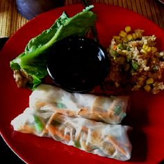 Homemade fresh spring rolls, fried rice, chicken wraps.