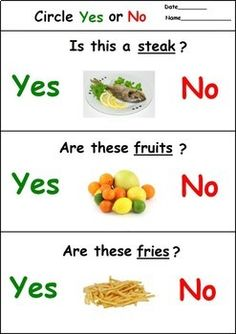 Food Yes No Questions Distance Learning Speech Therapy Worksheets Activities For Autistic Children, Autism Activities, Toddler Learning Activities, Autism Education, Autism Classroom, Special Education, Speech Therapy Worksheets, Pediatric Physical Therapy, English Worksheets For Kids