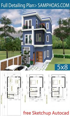 2 Bedroom Tiny Home Plan - SamPhoas Plan Sims House Plans, Duplex House Plans, Family House Plans, Dream House Plans, Small House Plans, Tiny Home Floor Plans, Small House Layout, House Layouts, House Front Design
