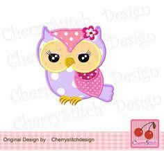 Spring flower owl applique 03  Flower owl by CherryStitchDesign