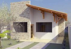 Modern Style Home Design with 2 Bedrooms House Styles, House Design, Building A House, Small House, Modern Style Homes, Small House Design, House, House Front, Outdoor Living