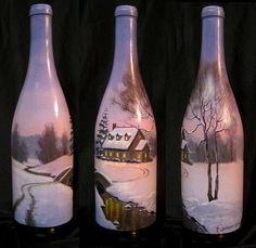 Hand Painted Wine Bottle of a Country Cottage in the by jeremysams, $65.00