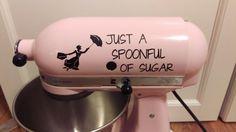 Spoonful of Sugar Kitchenaid Mixer Vinyl Decal Sticker Dessert Mary Poppins - Living Word Designs, Inspirational Home Decor Mary Poppins, Casa Disney, Disney Rooms, Disney House, Disney Home Decor, Disney Crafts, Disney Kitchen Decor, Disney Diy, Disney Stuff