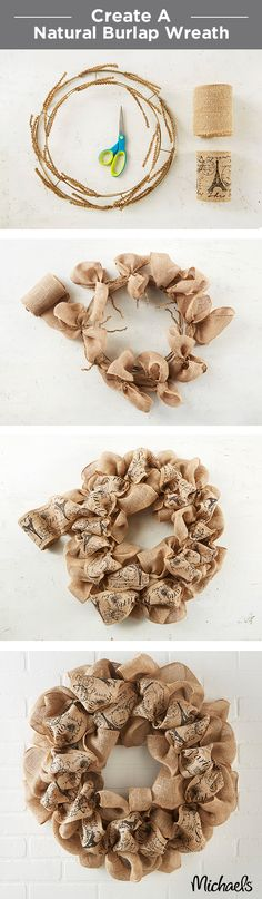 A simple burlap wreath is the perfect door décor. Tie burlap bows onto the wreath form using the attached wire stems. Layer on a printed burlap ribbon and voilà - you have a warm welcome for your front door. Burlap Projects, Burlap Crafts, Burlap Ribbon, Wreath Crafts, Diy Wreath, Burlap Wreaths, Wreath Ideas, Wreath Making, How To Make Wreaths