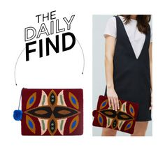 """""""The Daily Find: Zara Pom Pom Envelope Clutch"""" by polyvore-editorial ❤ liked on Polyvore featuring MANGO and DailyFind"""