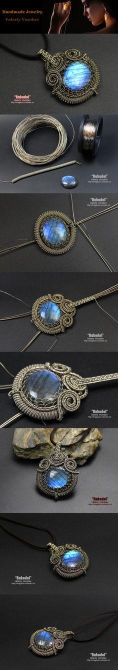Handmade jewelry from Valery Vorobev. Wire Wrap Pendant of nickel silver-Neusilber