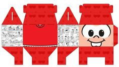 Molde caixa turma da monica Diy And Crafts, Paper Crafts, Childrens Party, Paper Toys, Holidays And Events, Decoration, Christmas Crafts, Projects To Try, Scrapbook