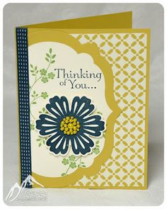handmade sympathy card ... Mixed Bunch flower ...labels framelits ... like the pearls colored yellow in the flower center ... lovely card in navy and starfruit ... Stampin' Up!