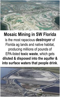 Mosaic mining in South West Florida Tampa Region is the most rapacious destroye of Florida ag land and native habitat! The toxic waste is enormous. This company should not be allowed to leave tons and tons of toxic waste behind... deluting it into aquifers and surface waters that people drink.