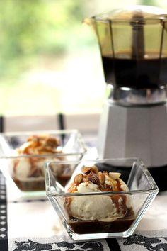 Affogato – Vanilla Ice Cream, Espresso, Caramel Sauce and Salted Nuts