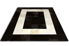 Patchwork cowhide rug black & white super soft and shiny leather cowskin area rugs carpet