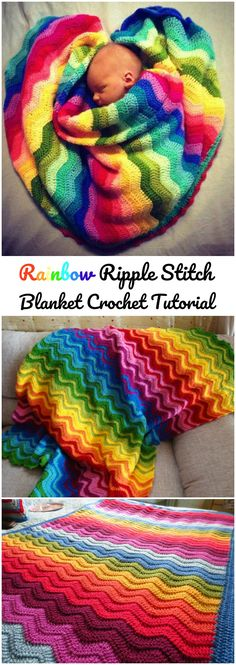 Crochet Rainbow Ripple Stitch Blanket - I like the middle one, and how it blends the colours in.