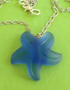 Sea Glass Starfish Necklace by joytoyou41 on Etsy, $23.00
