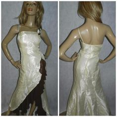 80s cream/brown #avant garde #split trailing asymetric prom #party dress 12uk 8us,  View more on the LINK: 	http://www.zeppy.io/product/gb/2/131672740136/