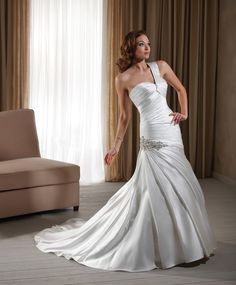 One Shoulder Wedding Gown with Ruffled Satin Corset Applique Simple Style