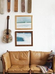 leather sofa and surf