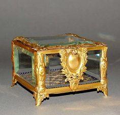 Antique French Empire Dore Jewelry Box Casket