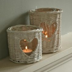 White, wicker, candle holder, Looker and Bell