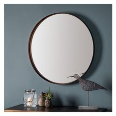 Round Mirror: Greystoke Bronze Metal Mirror | Select Mirrors Dining Table Marble, Framed Mirror Wall, Round Mirrors, Beveled Mirror, Metal Frame Mirror, Metal Frame, Bronze Mirror, Frames On Wall, Contemporary Round Dining Table