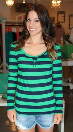 Dottie Couture Boutique - Striped Top- Green/Navy, $14.00 (http://www.dottiecouture.com/copy-of-striped-top-green-navy/)