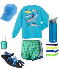 green and blue! nike shorts, hair ties, Essie , chacos, guy Harvey! THE PEFECT WORK OUT DAY! Different shoes forsure