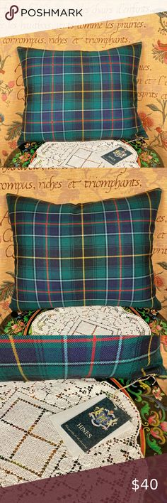 """MacInnes Tartan Plaid Pillow Scotland * NWT From the English establishment Hines of Oxford, a feather filled pillow of 100% pure wool, woven in Scotland. Zip bottom, tags attached, a handsome look for a Highland home. Measures approx. 17"""" across and 14"""" high, woven at the Isle Mill. Hines of Oxford Bedding Pillows Green Room Colors, Green Rooms, Highland Homes, Oxford Blue, Tartan Plaid, 100 Pure, Comforters, Scotland, Bed Pillows"""