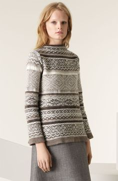 MARC JACOBS Reverse Fair Isle Boatneck Sweater | Nordstrom