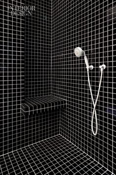 tile design, dark tile, seat, black shower, small tile, master bathrooms, bathroom showers, black tile shower, tile showers