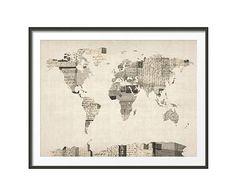 Print Old Postcards World Map  Gekocht, ik vind m zo grappig!