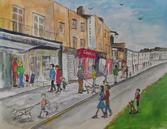 Print from watercolour, strolling down Richmond Hill, 2014, Richmond Hill, Richmond upon Thames, London.   By London-based artist, Caroline Sayer See more at: www.carolinesayer.co.uk Richmond Upon Thames, Richmond Hill, Watercolor Landscape, Life Drawing, Watercolours, Buildings, Landscapes, Sculptures, Street View