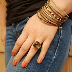 """Smoky Gray Faceted Glass Statement Gold Ring Beautiful statement ring featuring a faceted smoky glass stone and an adjustable band in a soft gold tone.  Stone measures approximately 3/4"""" squared. (101L522) Jewelry Rings"""