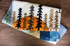 Mountain Sun and Moon Baby Quilt Tree Baby by TheQuirkyQuiltr