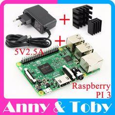 Raspberry Pi 3 Model B Board+Heat Sink+Power Adapter AC Power Supply.Rasp PI3 B,PI 3 B,PI 3B.1GB LPDDR2 Quad-Core WiFi&Bluetooth www.peoplebazar.net    #peoplebazar