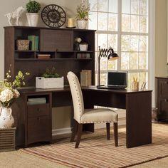 Bush Industries Buena Vista L Executive Desk with Hutch and Lateral File