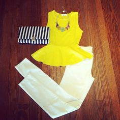 Yellow peplum with white jeans