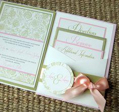 Floral Vintage Lace Pocket Wedding Invitation Set. $6.65, via Etsy.