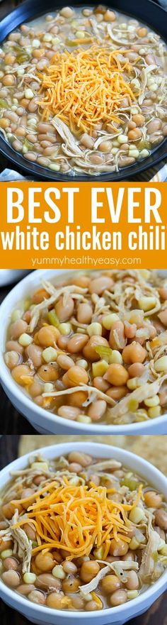 This is the BEST EVER White Chicken Chili recipe!! It's my very favorite white chicken chili recipe. It's super easy and everyone loves it! Simple, easy and delicious! Definitely a family pleasing dinner recipe!