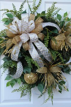 FOR SALE ON ETSY Elegant Gold Christmas Wreath by HeatherKnollDesigns on Etsy