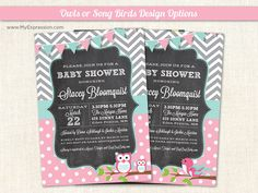 Pink+Aqua+and+Grey+Chevron+Owl+or+Song+Bird+by+MyExpressionInvites,+$15.00