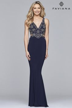 Faviana 10108 is a long jersey V neck evening dress with beaded bodice, cut out sides, and strappy back.