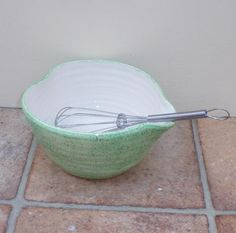 Pouring or batter mixing bowl hand thrown