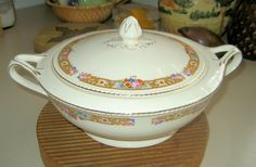 Covered Casserole China 8 inch Round Crown Ivory Vintage