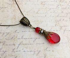 Red Necklace Ruby Necklace Ruby Red Necklace Siam Jewelry